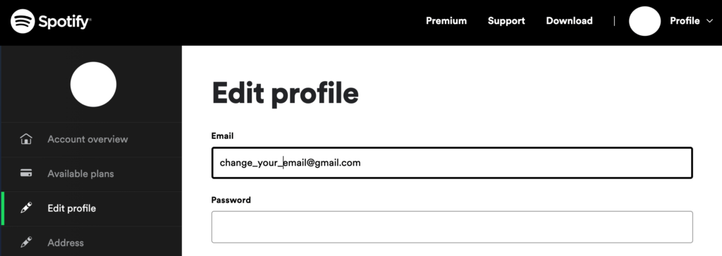 how to change email on spotify