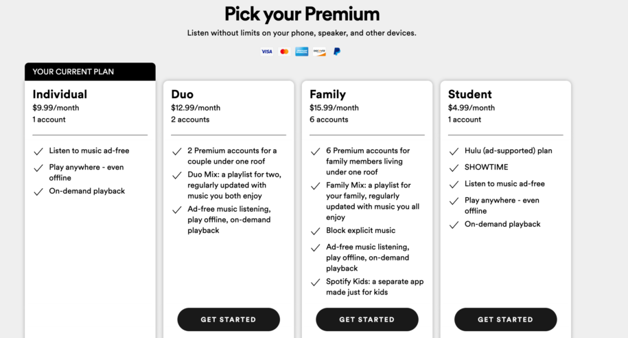 how to change payment plan on spotify
